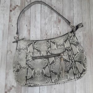 Snake skin printed shoulder bag